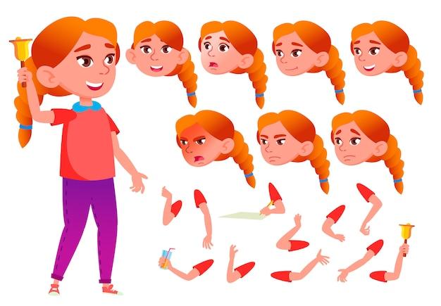 Ребенок девочка персонаж. европейский. создание конструктора для анимации. лицо, эмоции, руки.