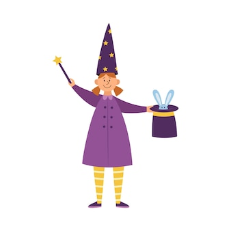 Child girl magician or illusionist performing a magic trick, flat isolated . girl with magic wand and bunny in hat.