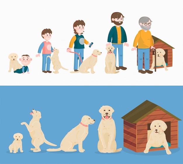 子供の成長犬の成長と赤ちゃんや子犬から高齢者や古いペットキャラクターイラストセット子供の頃から背景に分離された高齢者への生活のサイクルの概念を高齢化
