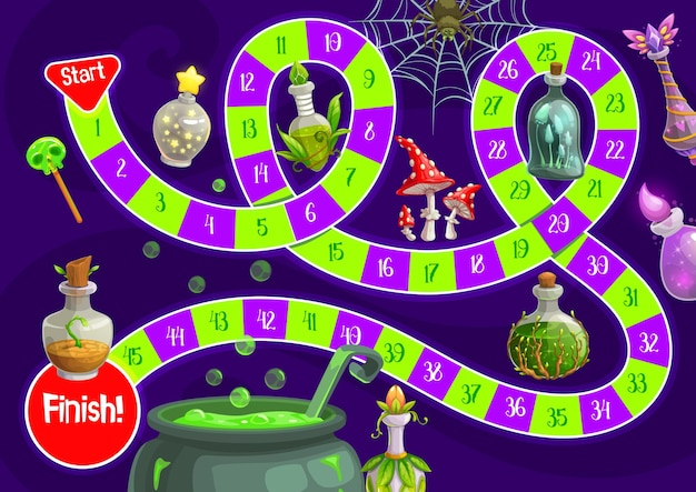 Child halloween board game with magic potions. kids race game, children roll and move boardgame template with cartoon vector magic elixirs, fly agaric mushroom and witch cauldron with boiling potion