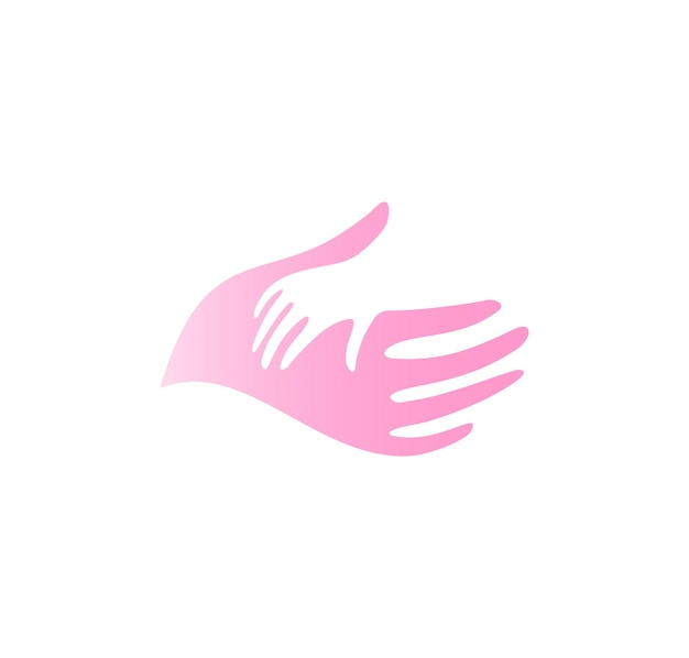 Child hand in mother hand vector icon. pediatrician abstract logo template. flat tender pink palm silhouette, abstract symbol. isolated vector illustration on white background