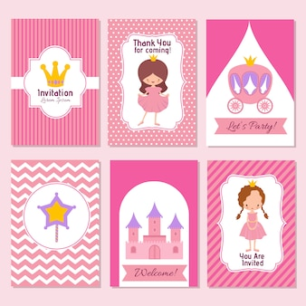 Child happy birthday and princess party pink invitation template