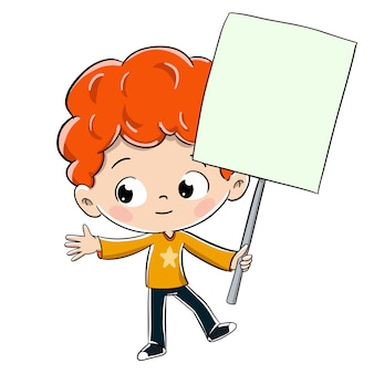Child holding a sign in his hand drawing attention