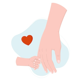 The child holds the hand of parent child protection
