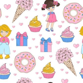 Child holiday valentine's seamless pattern