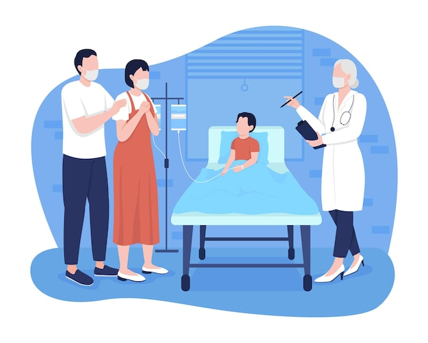 Child in hospital room 2d vector isolated illustration. parents talking with pediatrician about patient state flat characters on cartoon background. pediatric emergency room colourful scene