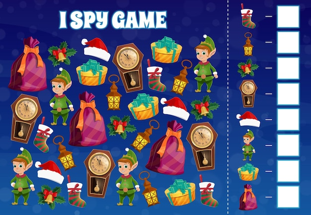 Child i spy game with christmas elfs and holiday decorations. kids educational activity with counting task. elf cartoon character, santa hat and gift, clock, christmas stocking and holly leaves vector