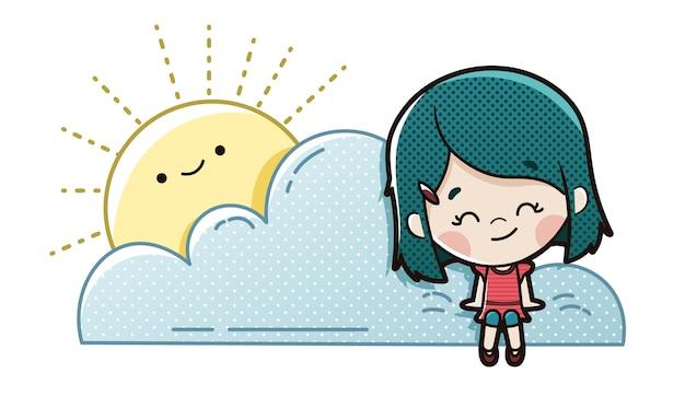 子供は雲に座って想像する
