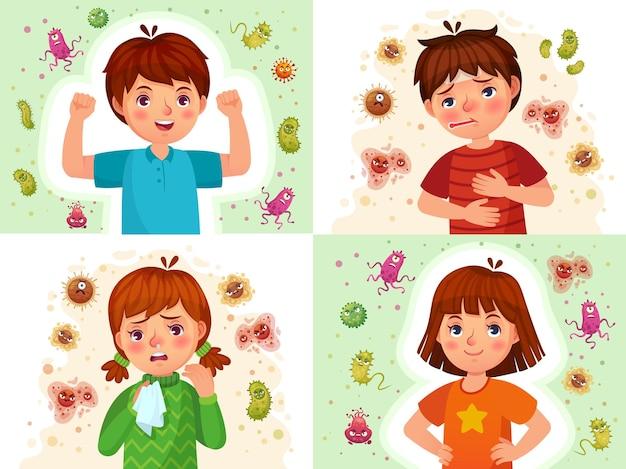Иммунная система ребенка. здоровые и больные малыши, иммунная защита. набор иллюстраций шаржа мальчика и девочки защищенный вирусами и бактериями.