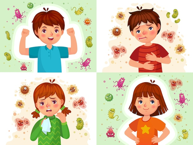 Child immune system. healthy and sick kids, immune defence. virus and bacterias protected boy and girl cartoon illustration set.