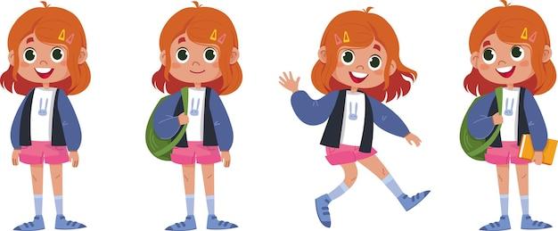 学校に戻って、学習についてさまざまなポーズの子供。ベクトルとイラストレーター。かわいい女の赤ちゃんキャラクターセット。バックパックと本の楽しみを持つ女子高生