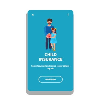 Child insurance family economy strategy vector. father man with daughter girl adding coin money in piggybank for future financial insurance. characters finance plan web flat cartoon illustration