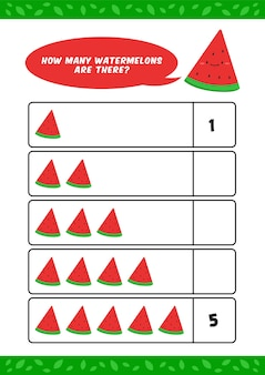 Детский детский сад, домашнее обучение, подсчет, учебный лист с милым шаблоном иллюстрации фруктов арбуза