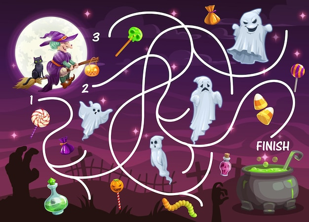 Child labyrinth game with halloween monsters. kids find path activity worksheet, children search way game. ghosts on cemetery, flying on broom witch and lollypop candy, cauldron with magic potion