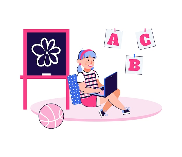 노트북에 abc를 배우는 어린이-어린이 개념에 대한 온라인 교육