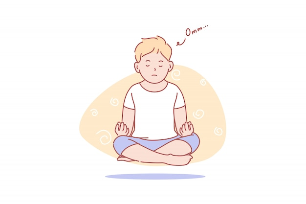 Child, levitation, yoga, meditation, health, illustration