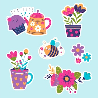 Child-like spring stickers collection