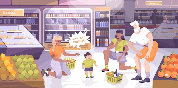 Child lost with shopping with child elements flat illustration