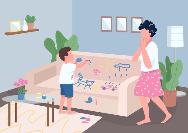 Детская шалость плоская цветная иллюстрация