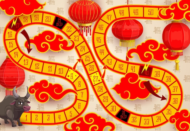 Child new year board game with chinese zodiac ox and paper lanterns