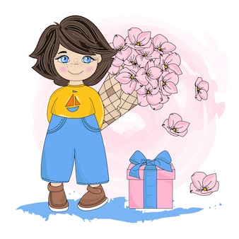 Child party valentine's day illustration set