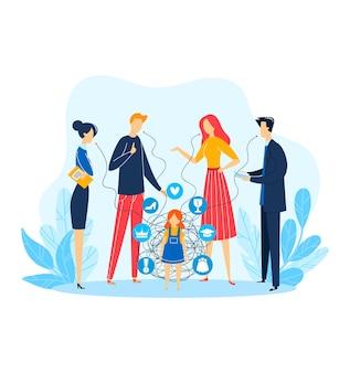 子供の人の問題、子供、イラストの周りの男性女性キャラクター。悲しい重点を置かれた女の子の上で話している家族の人々。