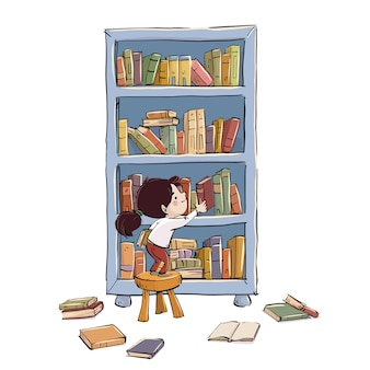 Child placing books on a shelf