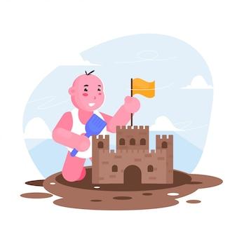 子遊び砂作る城フラットイラスト