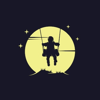 Child play swing on the moon logo