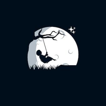 Детские игры качели на луну логотип шаблон