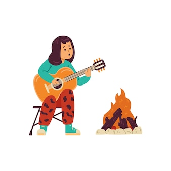 Child playing guitar near bonfire at campsite flat vector illustration isolated