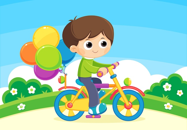 Child playing with a bicycle and  balloons