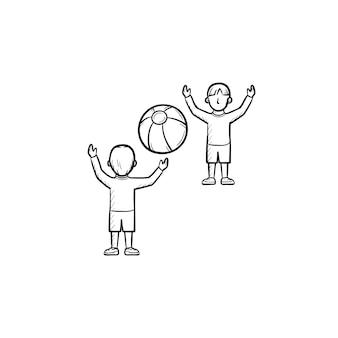 친구 손으로 그린 개요 낙서 아이콘을 가지고 노는 아이. 흰색 배경에 격리된 인쇄, 웹, 모바일 및 인포그래픽을 위한 풍선 공 벡터 스케치 삽화를 가지고 노는 사람들.