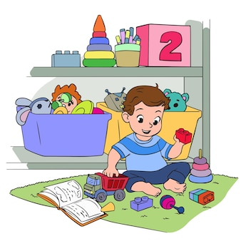 The child plays in the nursery children s toys and educational activities vector illustration