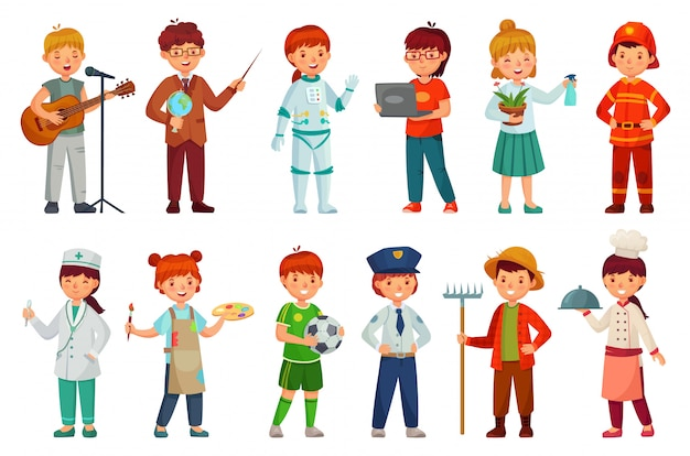 어린이 전문 유니폼, 경찰관 아이 및 아기 직업 직업 만화 벡터 세트