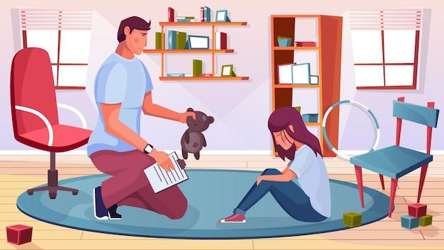 Иллюстрация детского психолога с элементами проблемы и травмы