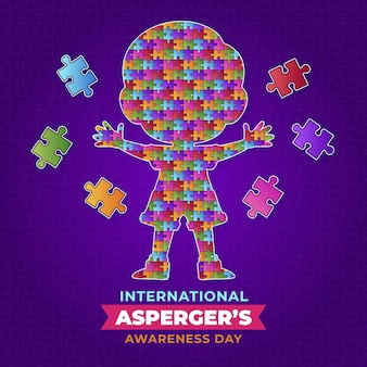 Child in puzzle pieces asperger awareness day Free Vector