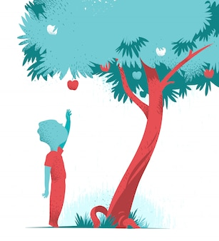 Child reaching for apple from apple tree