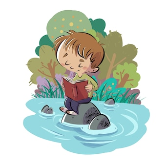 Child reading a book in a lake