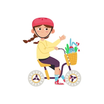 Child riding bicycle with flowers in basket flat vector illustration isolated