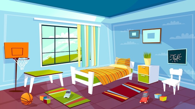 Child Room Of Kid Boy Bedroom Interior Background.