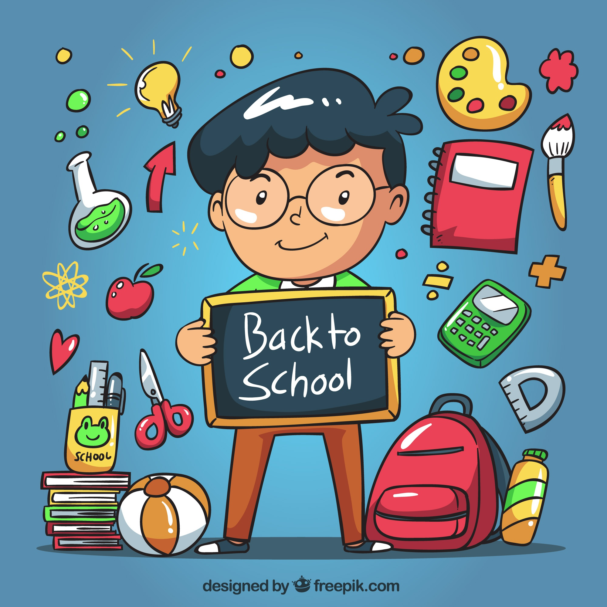 Child's background with a chalkboard and hand drawn school elements