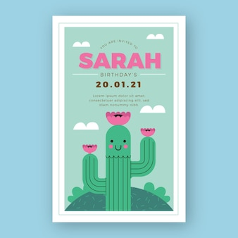 Child's birthday party invitation cute cactus