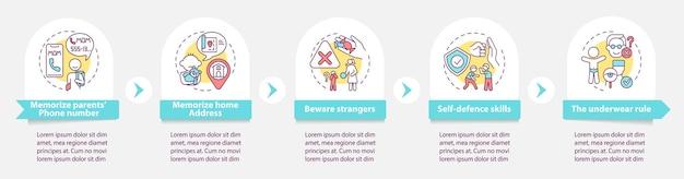 Шаблон инфографики безопасности детей. остерегайтесь незнакомцев. элементы дизайна презентации родительской заботы. визуализация данных по шагам. график процесса. макет рабочего процесса с линейными значками