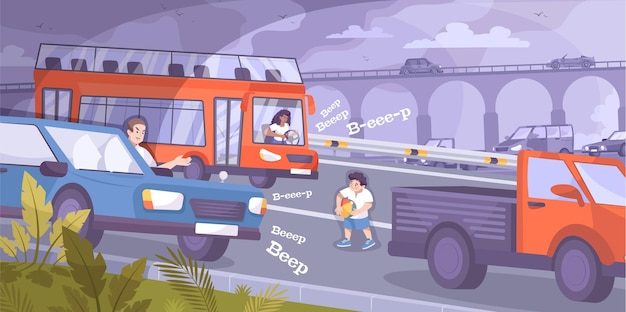 Child safety on road scene with cars and kid flat illustration