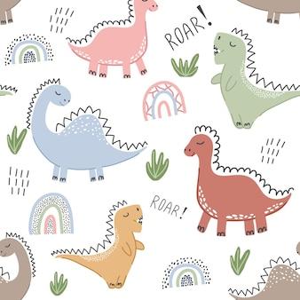恐竜と子のシームレスなパターン。