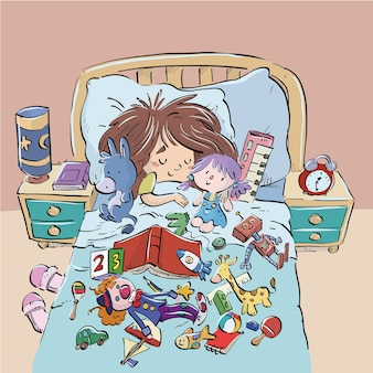 Child sleeping in bed surrounded by toys
