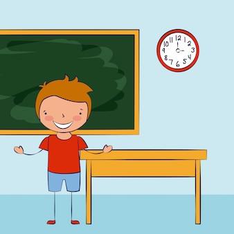 Ребенок улыбается в классе, снова в школу Бесплатные векторы
