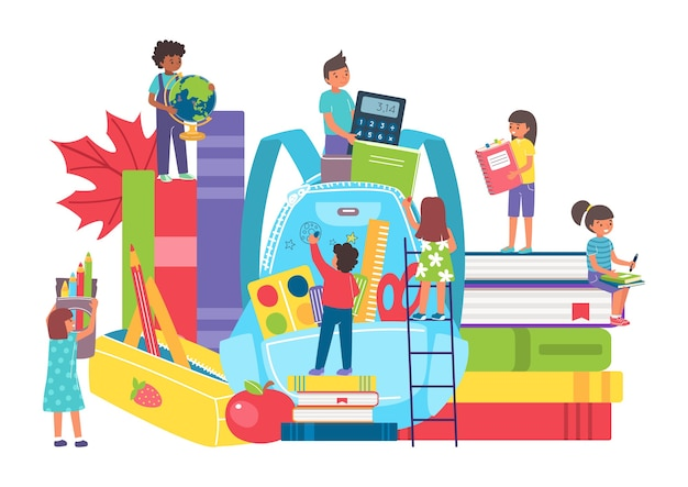 Child student backpack for education illustration