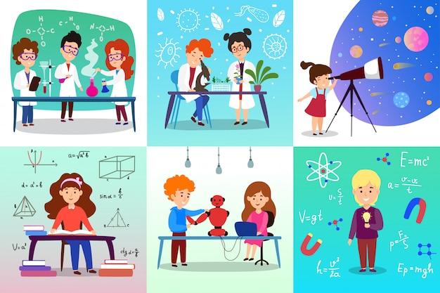 Child study sciences chemistry, biology, in school on hand drawn scientific illustration.